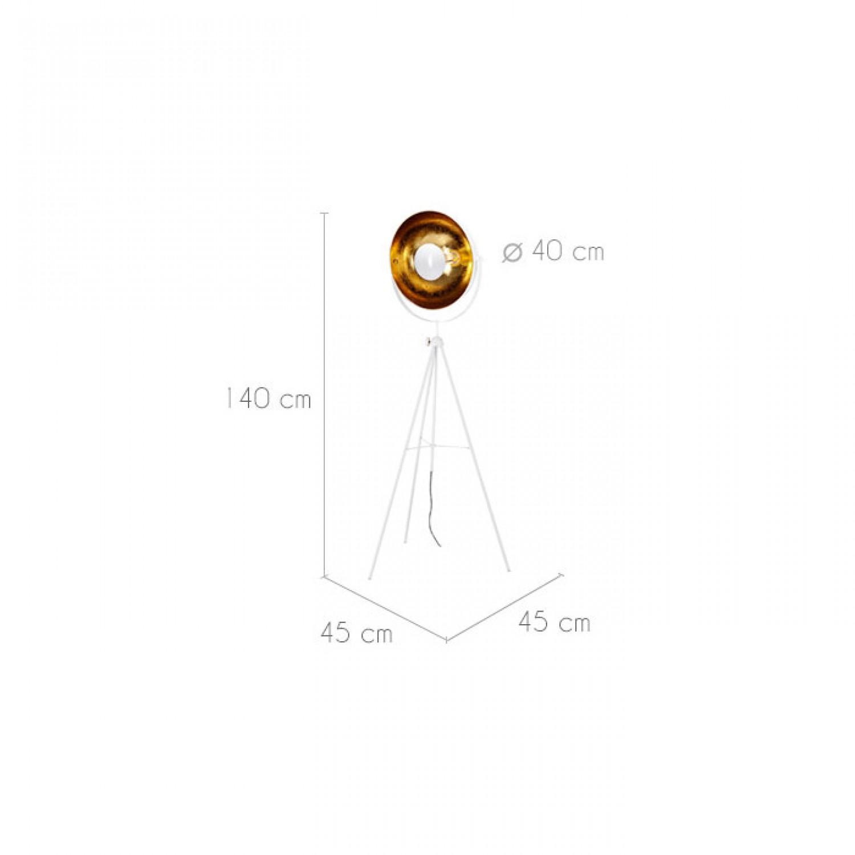 Lampadaire Projecteur blanc et or H.154 cm