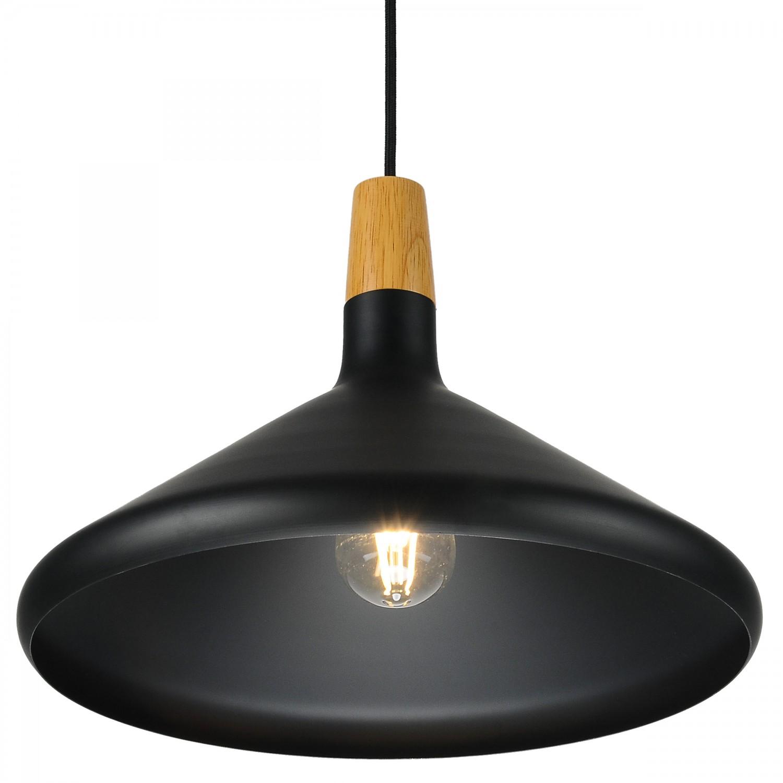 Suspension noire et bois 38 cm