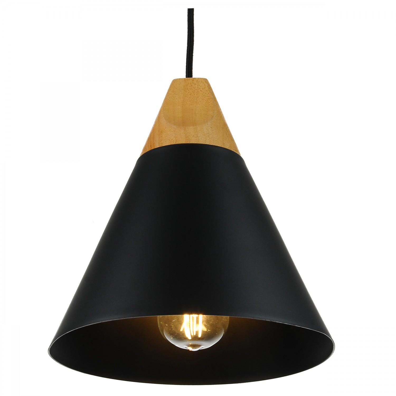 Suspension cône noire et bois