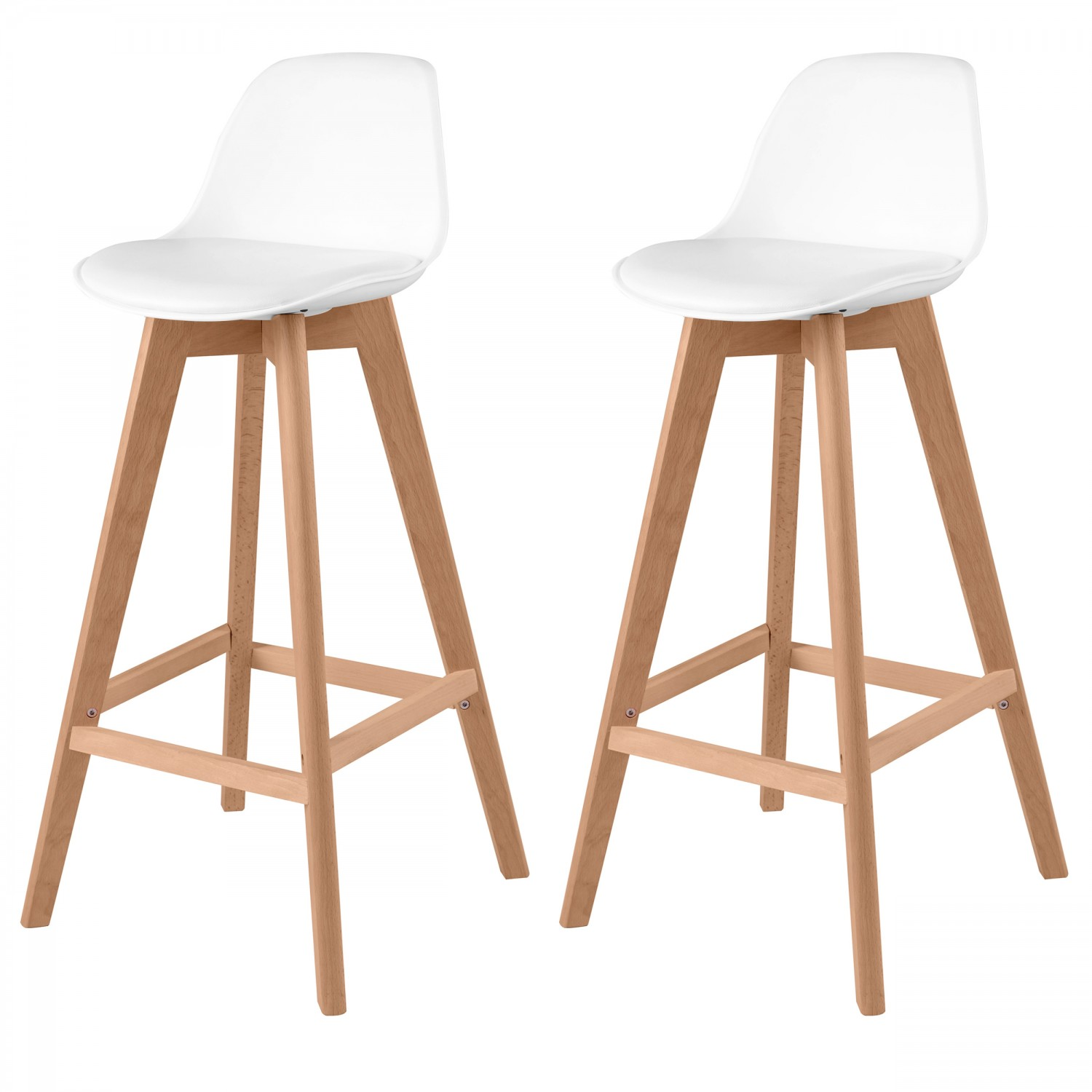 Tabouret De Bar Scandinave Blanc Lot De 2 Koya Design