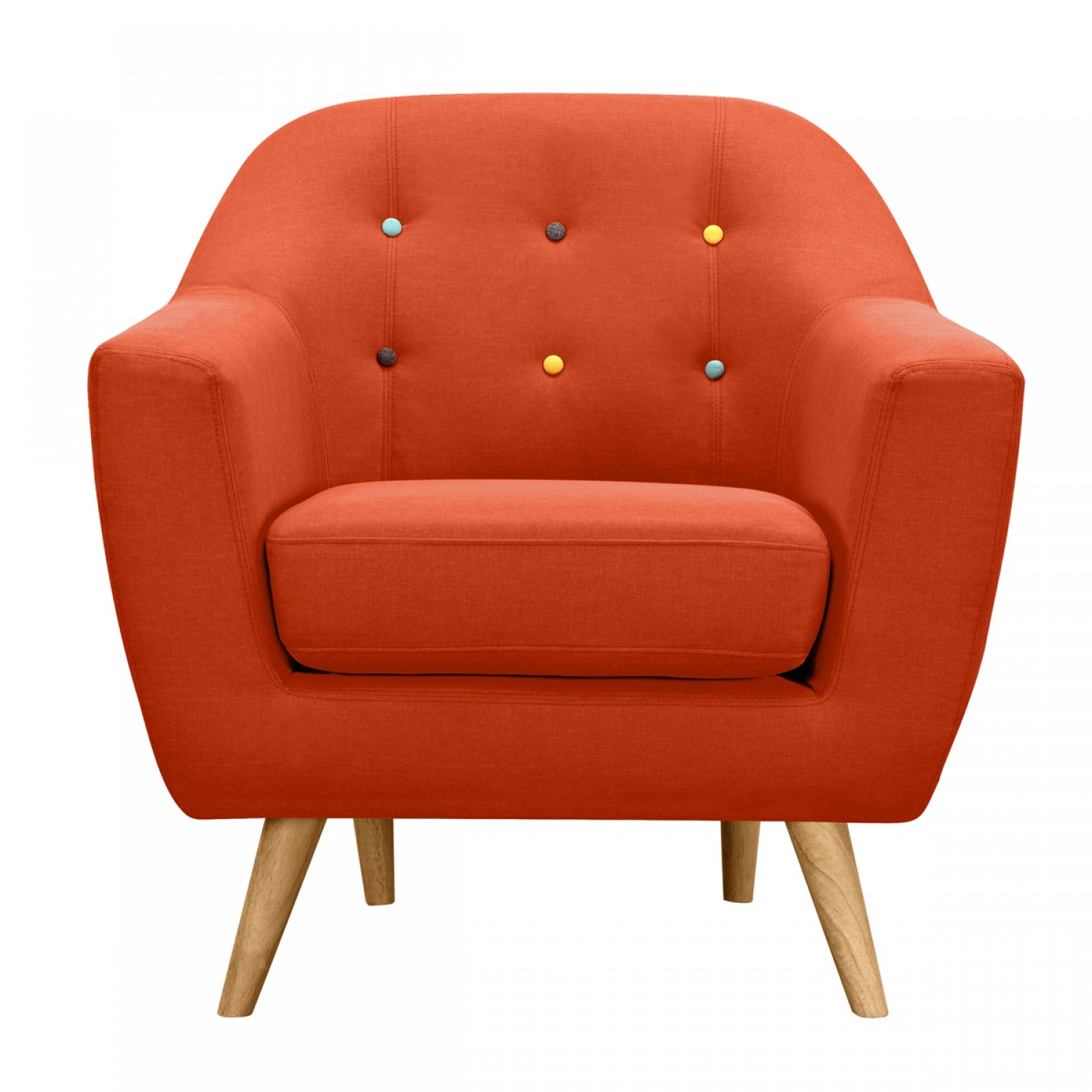 Fauteuil Vejen Orange Boutons Multicolores Koya Design - Fauteuil multicolore design