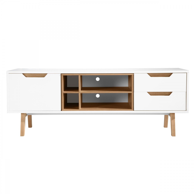 Meuble Tv Veban Blanc Koya Design # Meuble Tv Grande Longueur