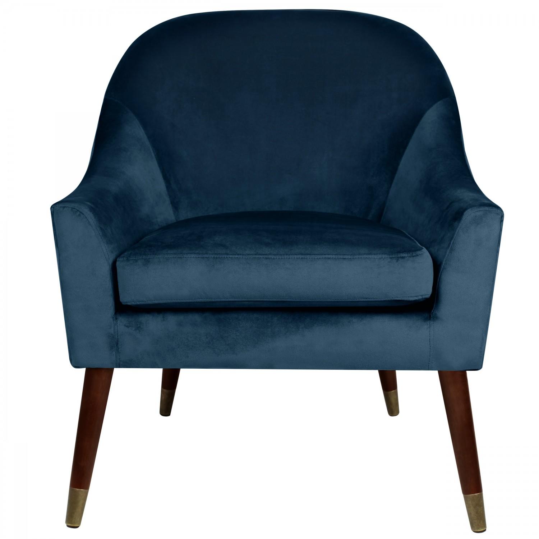 fauteuil montr al en velours bleu koya design. Black Bedroom Furniture Sets. Home Design Ideas