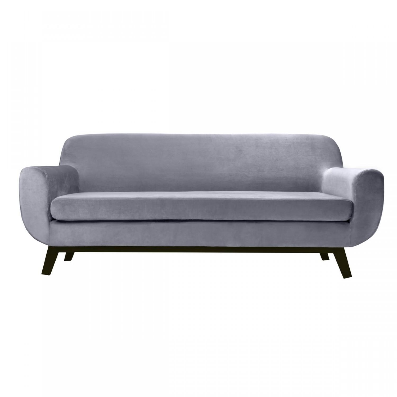 canap oslo 3 places gris velours koya design. Black Bedroom Furniture Sets. Home Design Ideas