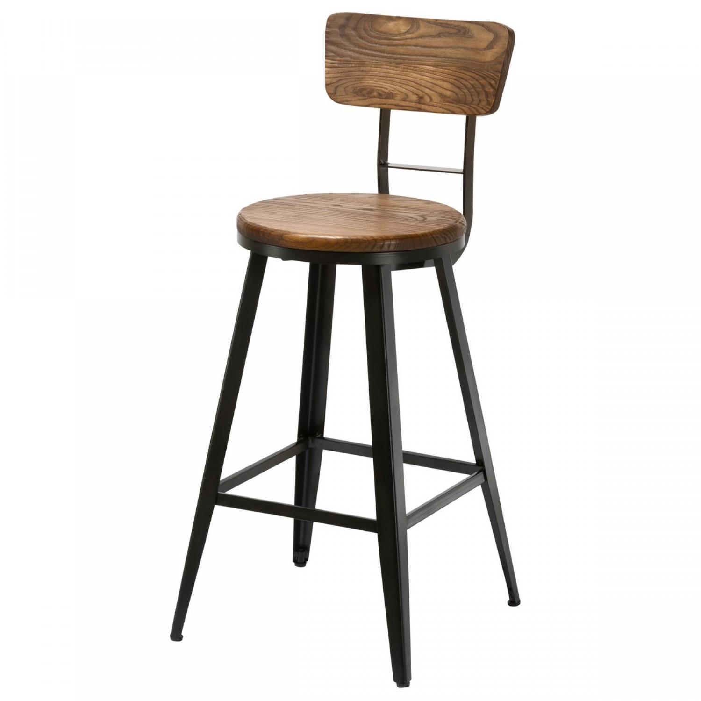 chaise de bar bistrot m tal et bois koya design. Black Bedroom Furniture Sets. Home Design Ideas