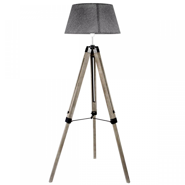 lampadaire gris et bois