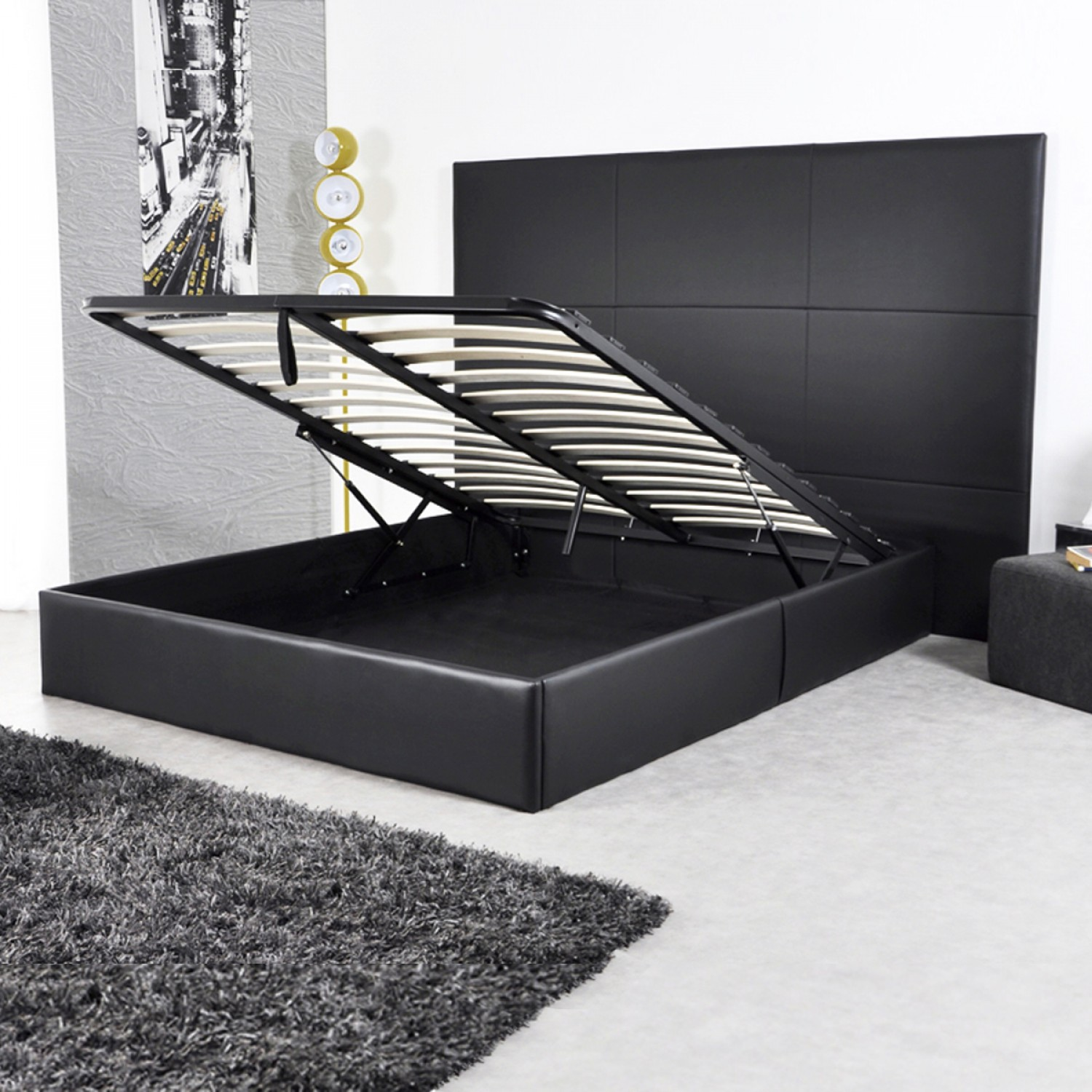 lit coffre 140 cm eliott noir koya design. Black Bedroom Furniture Sets. Home Design Ideas