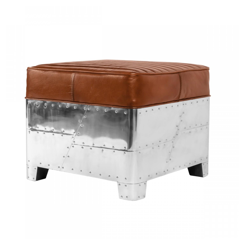 pouf carr aviateur cuir et aluminium koya design. Black Bedroom Furniture Sets. Home Design Ideas