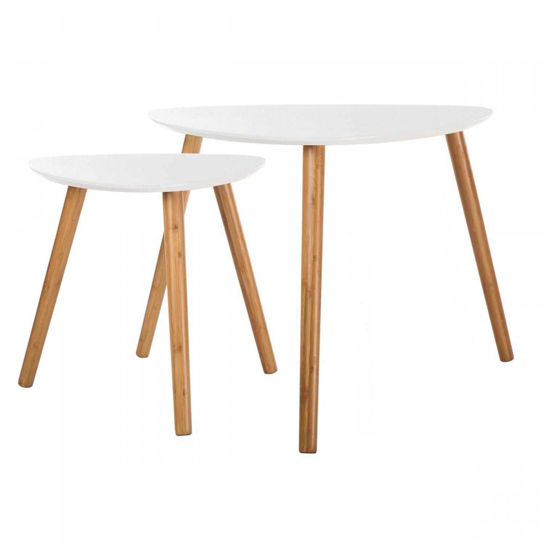 Tables basses gigognes en bois blanches koya design - Tables basses blanches ...