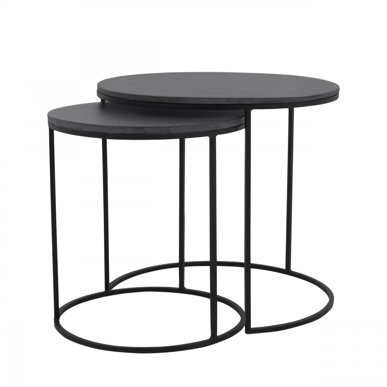 Table basse gigogne ronde batur lavastone lot de 2 koya design - Table basse salon noir ...