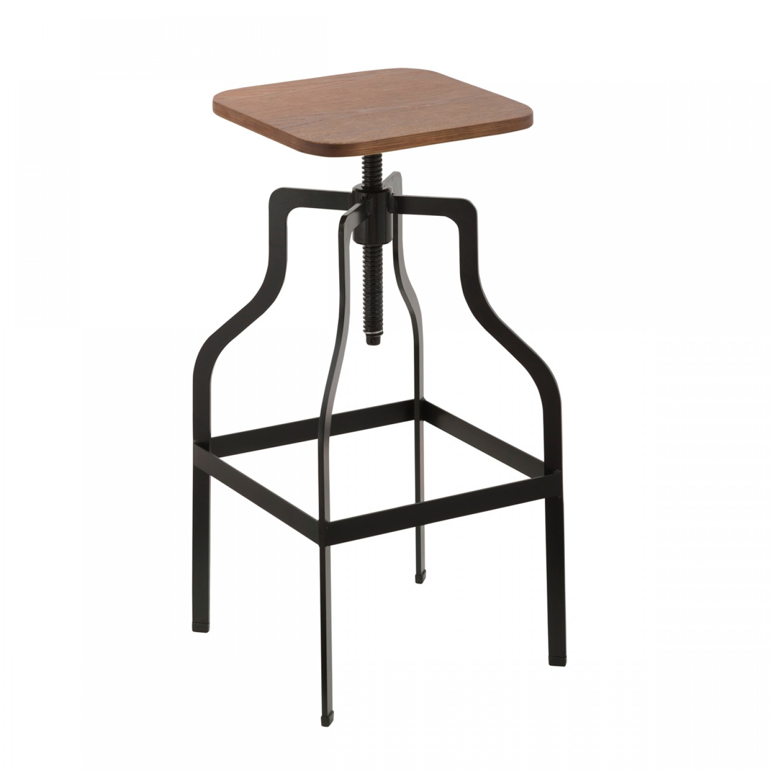 tabouret de bar vintage carr bois koya design. Black Bedroom Furniture Sets. Home Design Ideas