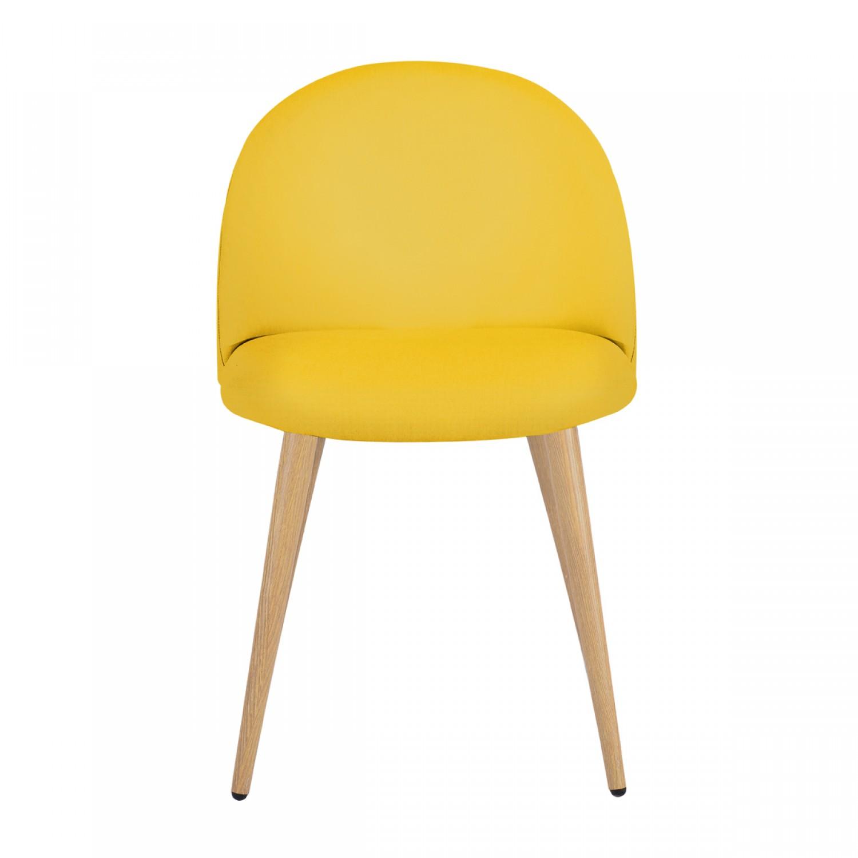 Chaise de s jour tissu jaune lot de 2 koya design for Chaise de sejour