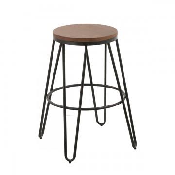tabouret de bar loft bois et m tal lot de 2 koya design. Black Bedroom Furniture Sets. Home Design Ideas